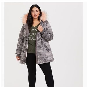 Camo coat with pink fur- Torrid
